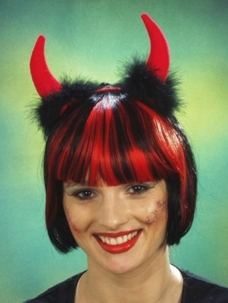 Teufel Hörner rot auf Haarreifen