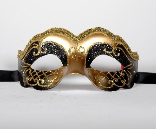 Venezianische Maske Columbine Baby schwarz-gold
