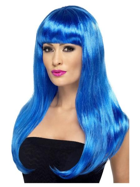 Langhaar Perücke blau mit Stirnfransen