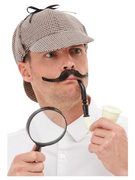 Detektiv Set Mütze mit Pfeife und Lupe