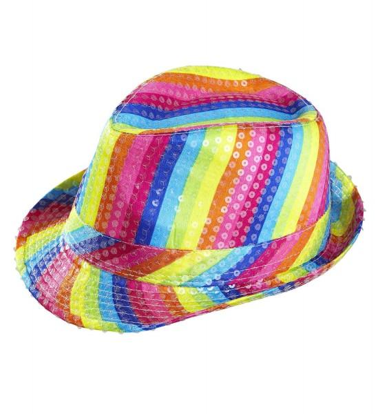 Pailletten Hut in Regenbogen Farben