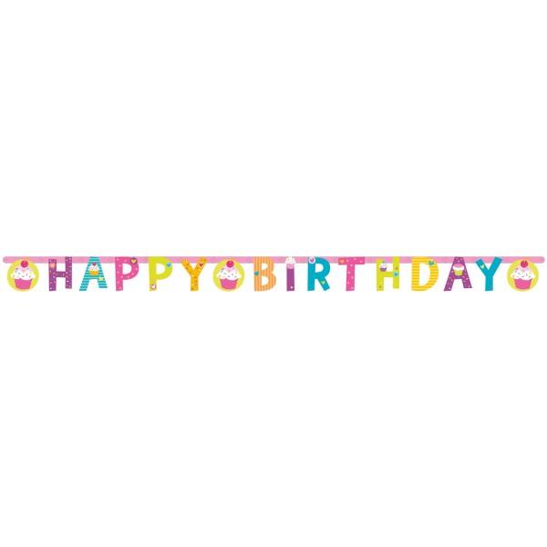 Buchstabenkette Happy Birthday Cupcake