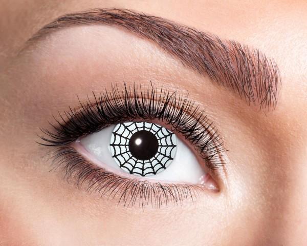 Kontaktlinsen mit Spinnenmotiv