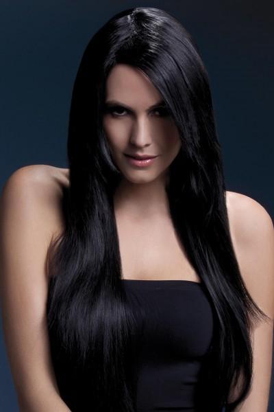 Ambre Perücke schwarz lange glattes Haar Premium Qualität