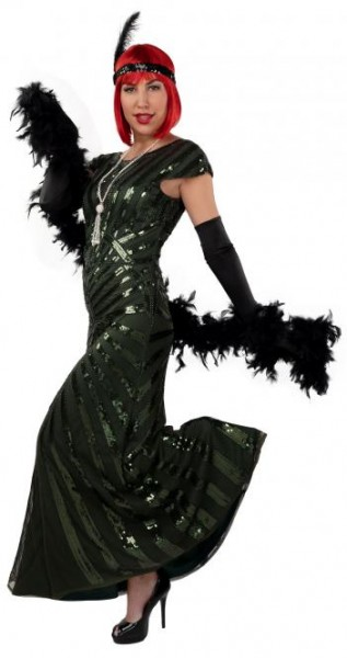 Charleston Kleid 20er Jahre lang grün
