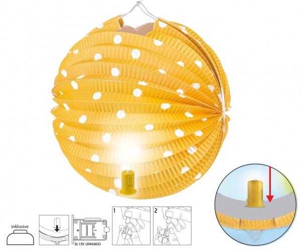 Runder Lampion mit LED Licht gelb mit Punkten D:20cm