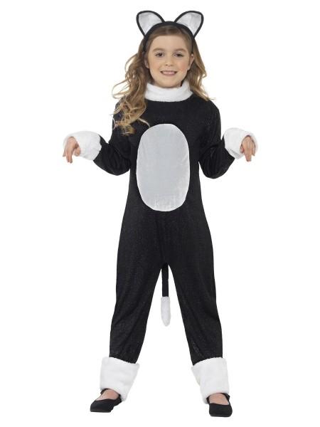 Katze Kostüm Overall SMALL schwarz-weiß