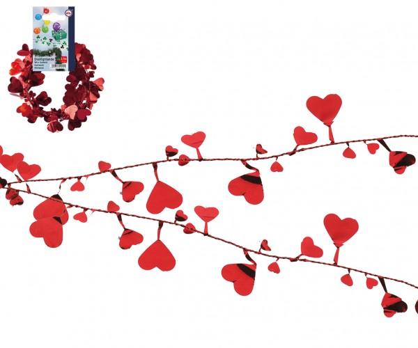Draht Girlande rote Herzen 2,7m