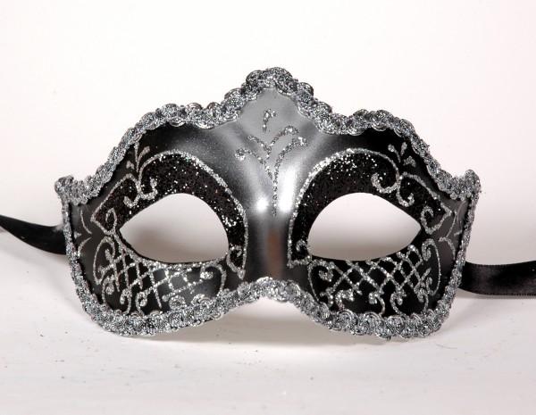 Venezianische Maske Columbine PUNTA schwarz-silber